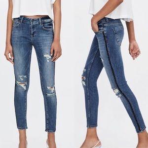 ZARA | Distressed Sparkle Stripe Skinny Jeans